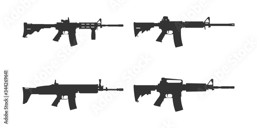 Obraz na płótnie Set of assault rifle silhouette vector. AR machine gun