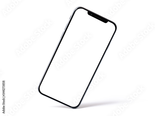 Photo Smartphone mockup, phone with blank screen and shadow isolated on white background