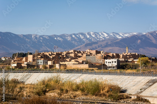 Cityscape of Midelt town in central Morocco between the High Atlas and Middle Atlas mountain ranges Wallpaper Mural