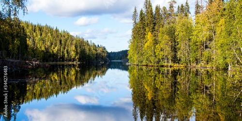 Fotografie, Obraz Reflection Of Trees In Lake Against Sky