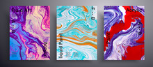 Abstract Liquid Banner, Fluid Art Vector Texture Set. Artistic Background That Applicable For Design Cover, Invitation, Presentation And Etc. Red, Purple And Golden Creative Iridescent Artwork