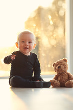 Cute And Happy Baby Boy With H...