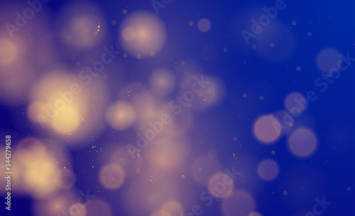 Fototapety, obrazy: Abstract magical background with bokeh lights effect, blue, silver, gold glitter for Christmas, for your banner, post