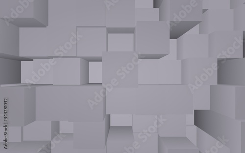 Abstract gray elegant cube geometric background Wallpaper Mural