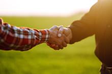 Handshake Two Farmer On The Ba...