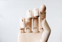 Close-up Wooden Hand Sculpture...