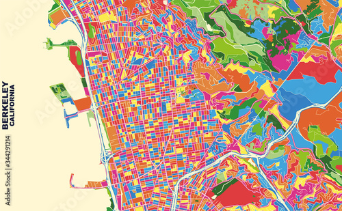 Fotografia, Obraz Berkeley, California, USA, colorful vector map