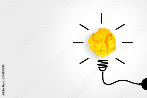 Creative Idea Concepts Light Bulb with Crumpled Paper on White Background Canvas Print
