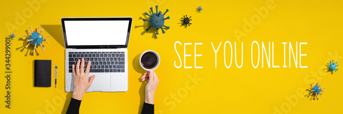 See you online theme with laptop computer with viruses Fototapet