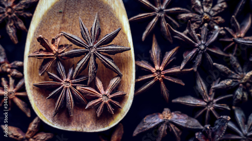 Top view star anise on a wooden spoon. Canvas Print