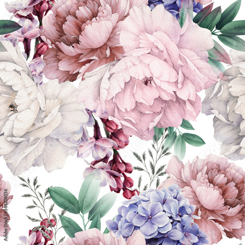 Obraz Seamless floral pattern with peonies on light background, watercolor. Template design for textiles, interior, clothes, wallpaper. Botanical art - fototapety do salonu