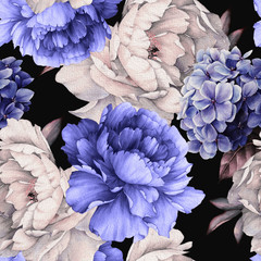 Fototapeta 3D Seamless floral pattern with peonies on dark background, watercolor. Template design for textiles, interior, clothes, wallpaper. Botanical art