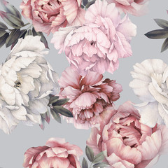 Naklejka Do sypialni Seamless floral pattern with peonies on light background, watercolor. Template design for textiles, interior, clothes, wallpaper. Botanical art