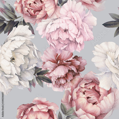 Tapeta czerwona  seamless-floral-pattern-with-peonies-on-light-background-watercolor-template-design-for-textiles-interior-clothes-wallpaper-botanical-art