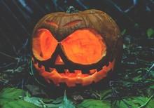 Illuminated Jack O Lantern On Ground