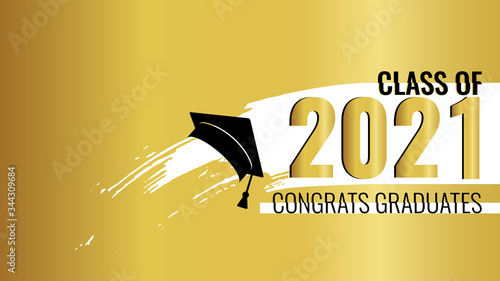 Obraz Class of 2021 on golden background. Brush stripe and gold number with education academic cap. Template for graduation party design, high school or college congratulation graduate. Vector illustration. - fototapety do salonu