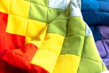 Rainbow Patchwork Quilt Fragme...