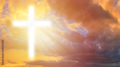 Fototapety, obrazy: Luminous cross in the sky. Religious signs. Religious symbol. Crucifixion. Religion. Orthodox cross. Symbol of faith.