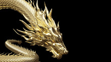Head And Half Body Gold Dragon In Smart Pose With 3d Rendering Include Alpha Path.