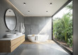 Leinwanddruck Bild Grey concrete tiled bathroom with opening to a jungle garden a round mirror and a bathtub