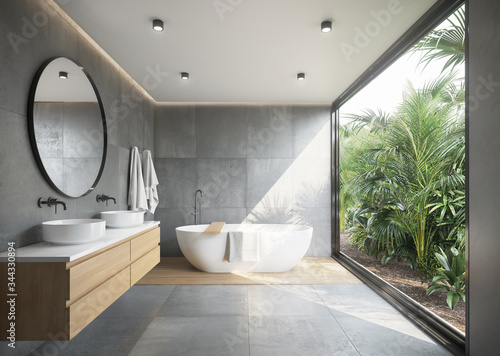 Grey concrete tiled bathroom with opening to a jungle garden a round mirror and Canvas Print