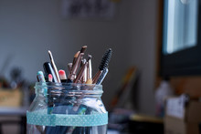 Glass Bottle With Makeup Instr...