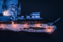 Aerial View Of Ship Repair Yard At Night