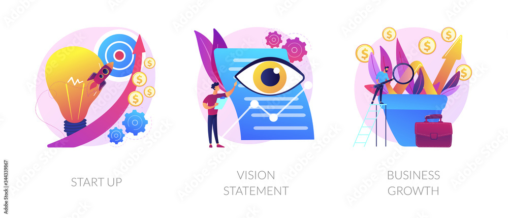 Fototapeta Successful project launch, corporate strategy presentation, financial development icons set. Startup, vision statement, business growth metaphors. Vector isolated concept metaphor illustrations