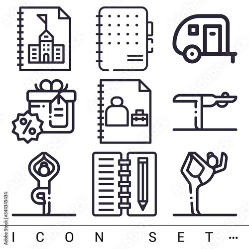 Photo 9 pack of acre lineal web icons set