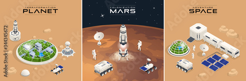 Isometric Mars Colonization, Biological terraforming, Paraterraforming, Adapting humans on Mars Canvas Print