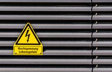 Close-up Of High Voltage Sign ...