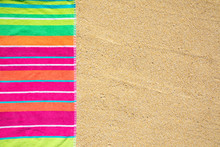 Beach Towel Photographed From Above On Sandy Beach With Copy Space, Hot Summer Day, Vacation Destination