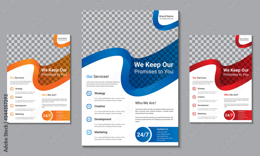 Fototapeta Creative Corporate Business Flyer brochure template design, Creative advertisement business flyer size A4 template with three color variation, creative leaflet, easy to use and edit.