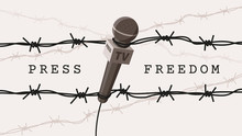 Detailed Flat Vector Illustration Of A Microphone Tangled In Barbed Wires. World Press Freedom Day. White Background. Feel Free To Use Only Parts Of The Illustration Too.
