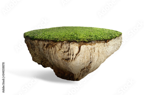fantasy floating island with natural grass field on the rock, surreal float land Fotobehang