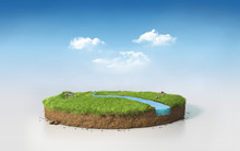 Fantasy 3D Rendering Circle Podium Grass Field With River, Surreal 3D Illustration Round Soil Cutaway Cross Section Isolated On Blue Sky