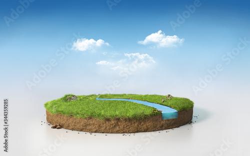Fotomural Fantasy 3D rendering circle podium grass field with river, surreal 3D Illustrati