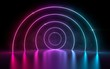 canvas print picture - 3d rendering of ultraviolet circle portal glowing lines futuristic tunnel, neon lights virtual reality, vibrant magenta cyan spectrum psychedelic laser show