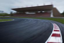 Empty F1 Racing Track, Speedy Motion Blur Race Circuit
