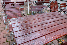 Street Terrace With Wet Tables...