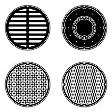 A Set Of Vector Sewer Covers Isolated On A White Background. Can Represent Sewage, Maintenance, City Services, Sanitation, A Manhole Cover, A Drain, A Restroom, And Sewers.