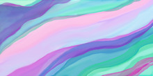 Colorful Watercolor Background Of Abstract Wavy Lines In Flowing Bright Pastel Rainbow Colors Of Pink Green Blue Violet And Purple, Waves Of Soft Blurred Textured Striped Colors