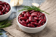 Canned Red Kidney Beans In White Bowl On A Table