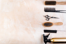 Hairdresser Tools. Flat Lay On...
