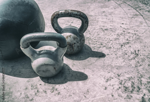 Fitness kettlebells weights gym background Fototapete