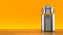 Milk Can On Orange Background