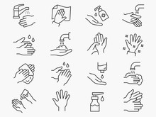 Hand Washing Line Icons Set. B...