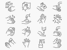Hand Washing Line Icons Set. B...