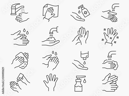 Hand washing line icons set. Black vector illustration. Editable stroke. - 344410629