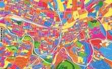 Roanoke, Virginia, USA, Colorful Vector Map